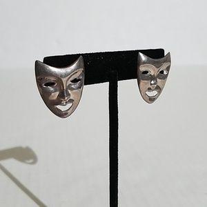 Vintage 925 ND silver comedy mask earrings  1y4